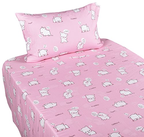 J-pinno Love Pug Dogs Girls Pink Muslin Cotton Bed Sheet Set Twin, Flat Sheet & Fitted Sheet & Pillowcase Natural Hypoallergenic Bedding Set (15, Twin)