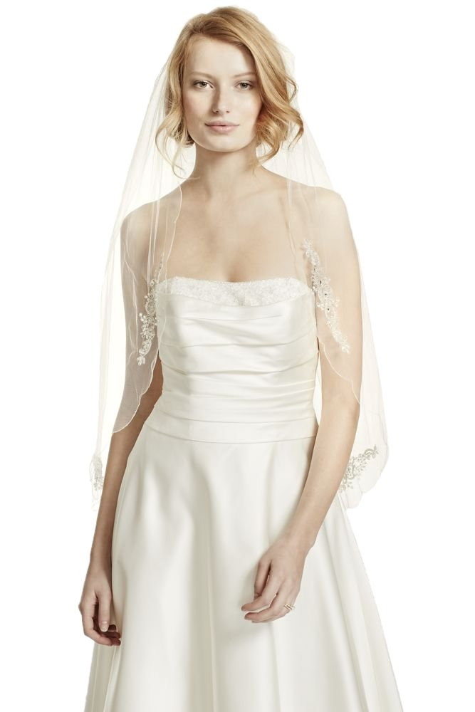 Scalloped Edge Veil with Bead and Crystal Motif Style VWG3121, Ivory by David's Bridal