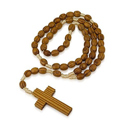 - Genuine Olive wood oval bead and wrapped cord praying Rosary 14