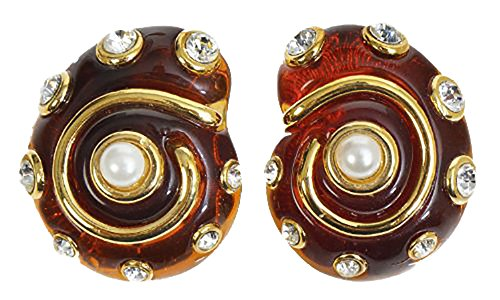 Faux Tortoiseshell Snail Shell Clip On Earrings Resin Pearls & Crystals Costume