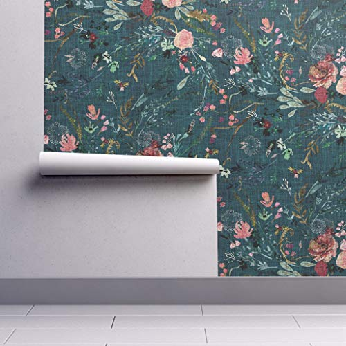 Peel-and-Stick Removable Wallpaper - Floral Boho Botanical Roses Print Watercolor Spring Ferns Teal by Nouveau Bohemian - 24in x 60in Woven Textured Peel-and-Stick Removable Wallpaper Roll
