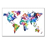 World Map Canvas,Map Poster Printed On Canvas with Frame Ready Hanging On,World Map Decal,Home Wall Decoration Picture