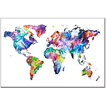 Amazon wieco art colorful world map large modern stretched world map canvasmap poster printed on canvas with frame ready hanging on world gumiabroncs Choice Image