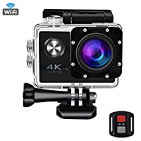 Sports Action Camera 4K WIFI 16MP Ultra HD Waterproof Underwater Sport Cam with Remote Control 170 Degree Wide Angle 2 Inch LCD Plus Rechargeable Battery and Mounting Accessories Kit