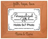 Custom Couples Faith Love Add Names Personalized Natural Wood Engraved 5x7 Landscape Picture Frame