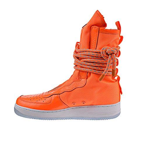 Nike Scarpe Uomo Wmns SF Air Force 1 Mid in Pelle e Tessuto Bianco 917753-101 Total Orange, Total Orange-white