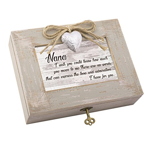 Cottage Garden Nana Love I Have Natural Taupe Wood Locket Music Box Plays You Light Up My ()