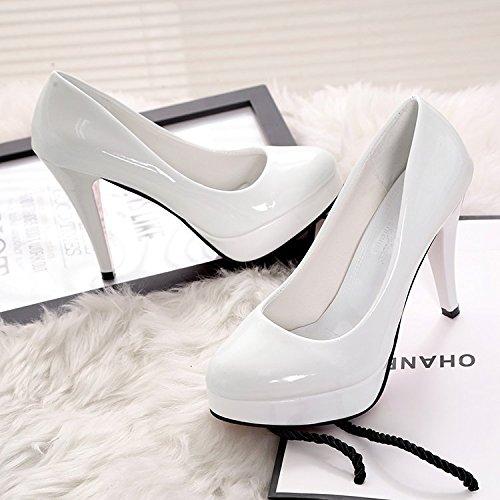 Mujer de Femeninos Qiqi Solo de Xue Boda Calzados Zapatos de 10cm roja Zapatos es Bien Cabeza Zapatos con Impermeable Redonda Blanco 6qYwIOY