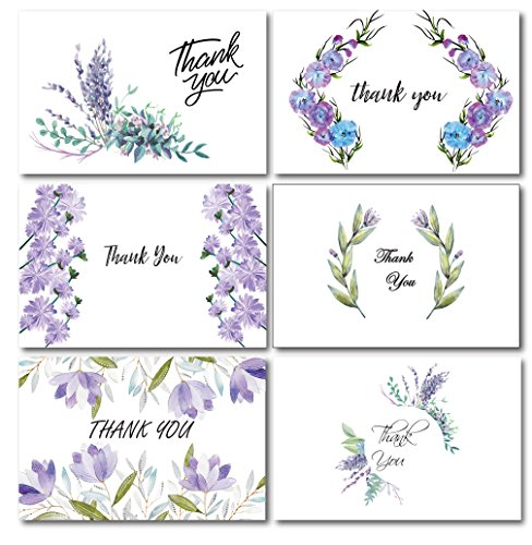 Wreaths Nature Botanic Thank You Greeting Cards Set | 36 Colorful Lavender Purple Thank You Notes Cards Bulk Set |Baby Bridal Shower Wedding Blank inside with Envelopes| 4x6 Inches Fine Thick Paper