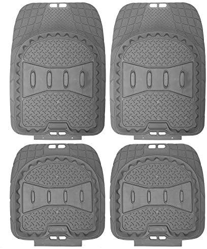 OxGord 4pc Full Set Deep Dish Rubber Floor Mats, Universal Fit Mat for Car, SUV, Van Trucks – Front Rear, Driver Passenger Seat – Gray