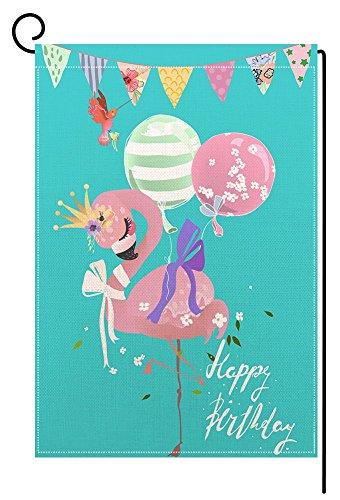 BLKWHT Happy Birthday Flamingo Garden Flag Vertical Double S