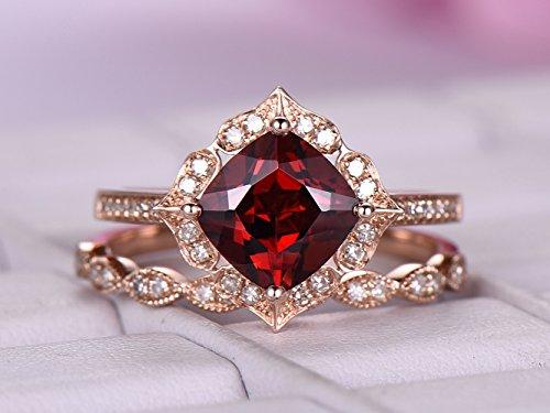 (Cushion Garnet Engagement Ring Set Pave Diamond Wedding 14K Rose Gold 7mm)