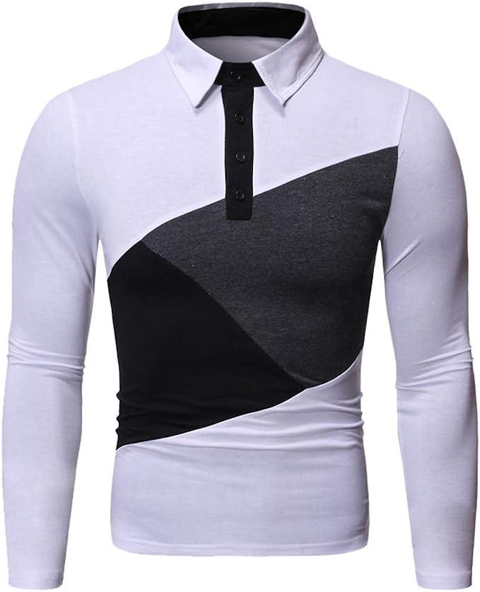 LANSKIRT_Camisas Hombre A Rayas Camisetas de Cremallera Manga ...