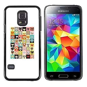 FECELL CITY // Duro Aluminio Pegatina PC Caso decorativo Funda Carcasa de Protección para Samsung Galaxy S5 Mini, SM-G800, NOT S5 REGULAR! // Kitten Pattern Checkered Cat Cartoon