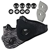 Activated Carbon Dustproof Dust Mask - with Extra Filter Cotton Sheet and Valves for Exhaust Gas, Anti Pollen Allergy, PM2.5, Running, Cycling, Outdoor Activities (2 Pack Gray+Black, Type 1)