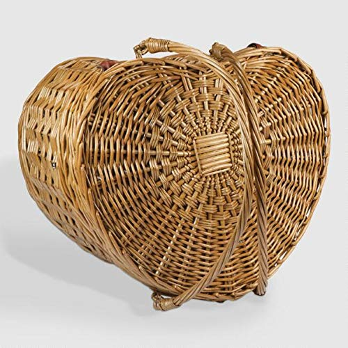 MattsGlobal Shop Traditional Willow Heart Picnic Basket for Two - Natural Willow with Cotton Lining - Folding Handles Easy Clean