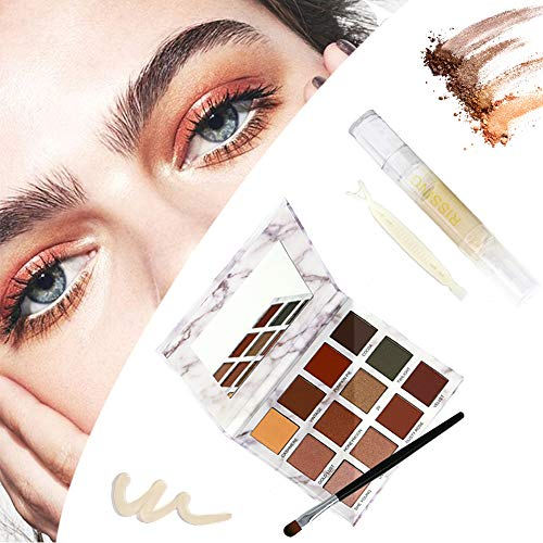 Invisible Double Eyelid Cream - Eyeshadow Makeup Palette 12 Colors Matte & Glitter Shimmer - Waterproof & Long-Lasting Eye Combination Cosmetic Set - Perfect For Droopy, Uneven, or Mono-eyelids