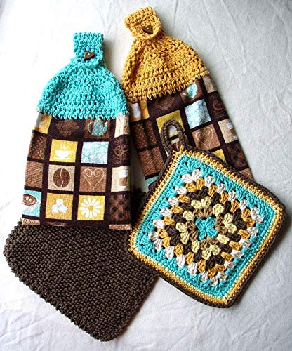 Coffee Lover Hanging Towels Blue Yellow Brown Kitchen Set with Matching Trivet Knit Dishcloth ()