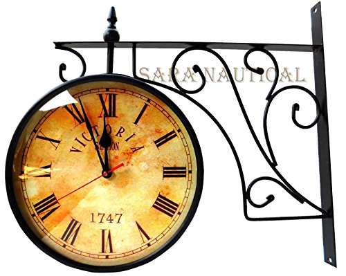 Sara Nautical Nautical Victoria Station Double Sided Railway Clock Functional Clock Home Decor -