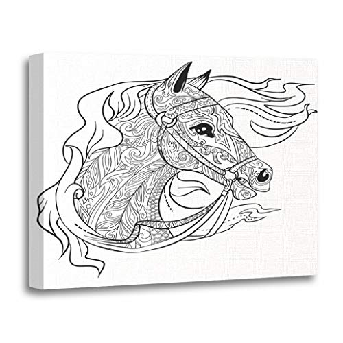 (Emvency Painting Canvas Print Wooden Frame Artwork Antistress Doodle Horse Head for Adult Coloring Book Animal Page Face Decorative 12x16 Inches Wall Art for Home)