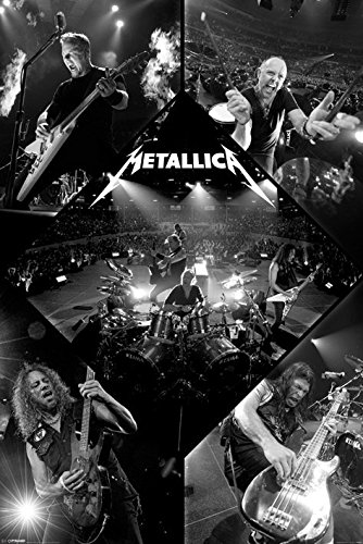 Metallica - Music Poster/Print (Live - Black & White Photo Colalge) (Size: 24 inches x 36 inches)