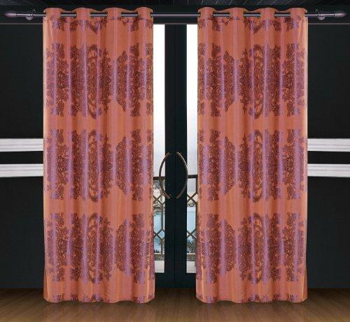 Dolce Mela DMC463 Jacquard Damask Drapery Window Treatments with Grommet Curtain Panel, Areon