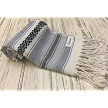 Bersuse 100% Cotton - San Jose Turkish Towel - Bath Beach Fouta Peshtemal - Mexican Blanket - Handloom Pestemal - 35X70 Inches, Anthracite