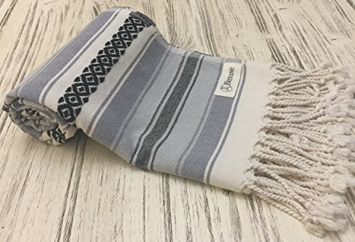 Bersuse 100% Cotton - San Jose Extra Large (XL) Throw Blanket Turkish Towel - Mexican Style Pestemal - Bath Beach Fouta Peshtemal - Bed, Couch Throw, Table Cover, Picnic Mat - 57X92 Inches, Anthracite