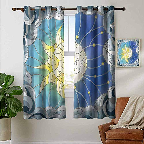 fengruiyanjing Kid Room Custom Curtains Nursery Panels Set of 2 Pieces, Sun and Moon, Stained Glass Design 55