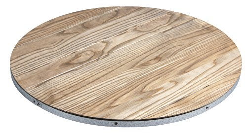 "J.K. Adams Champlain Round Driftwood & Galvanized Lazy Susan, 18"", Gray made in New England"