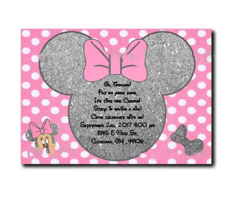 Flamingo Bonut hip resistance band 20 pcs/lot Minnie Mouse Silver glitter Girls Party Invitations Minnie Mouse Baby Shower Invites Birthday party decoration supply