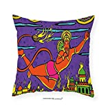 VROSELV Custom Cotton Linen Pillowcase Psychedelic Traditional Indian Ramayan Epic Legend Divine God Culture Sacred Holy Avatar Design for Bedroom Living Room Dorm Multi 26''x26''