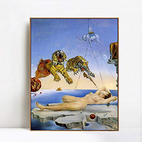 INVIN ART Framed Canvas Giclee Print Art Dream Caused by The Flight of a Bee Around a Pomegranate. One Second Before Awakening by Salvador Dali Wall Art(Wood Color Slim Frame,24