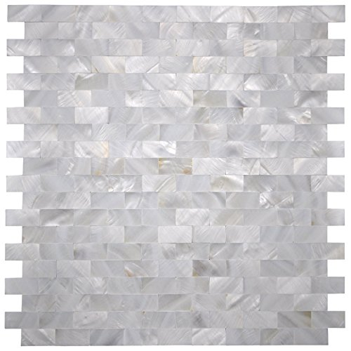 (Art3d 6-Pack White MOP Shell Mosaic Tile for Kitchen Backsplashes/Shower Wall, 12