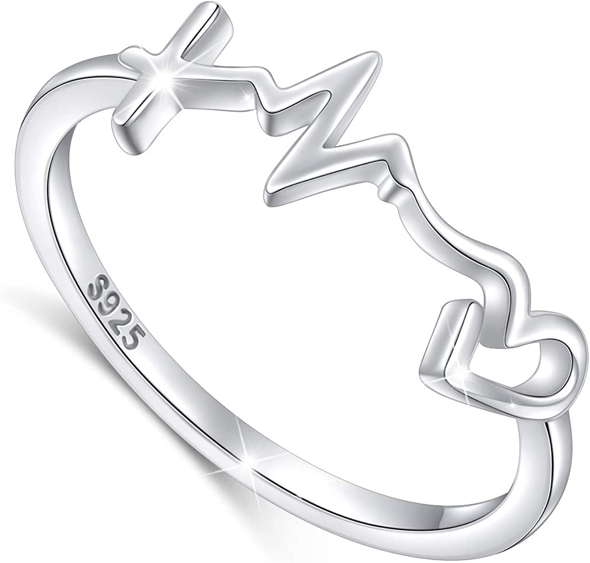S925 Sterling Silver Faith Hope Love Ring for Women Girls Christian Jewelry Gifts