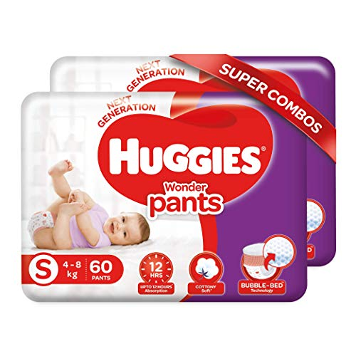 Huggies Wonder Pants, Small Size Diapers Combo Pack of 2, 60 Counts Per Pack, 120 Counts