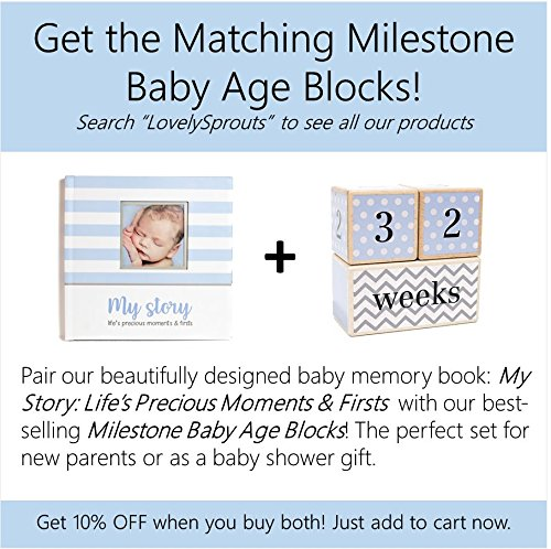 Keepsake /& Photo Journal Blue Unisex LovelySprouts First Year Baby Memory Book /& Baby Journal Perfect for Boys Or Girls Baby Shower Gift 3 Color Styles Available First 5 Years Scrapbook
