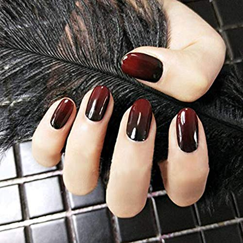 24pcs False Nails 12 Different Size Gradient Red and Black Almond Full Cover Fake Nails ()