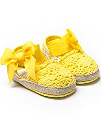 DESDEMONA Newborn Baby Infant Girls Bow Tie Crochet Knit Socks Crib Shoes Prewalker 3-12 Months