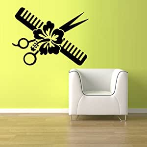 Wall vinyl sticker decals decor art bedroom design mural for Stickers salon design