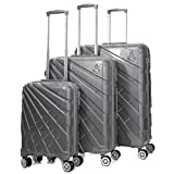 "Aerolite PCF Hard Shell Polycarbonate 8 Wheel Spinner Luggage Suitcase Travel Trolley Cases with TSA Approved Combination Lock (Silver, 21"" Cabin + 25"" + 29"", 3 Piece Set)"