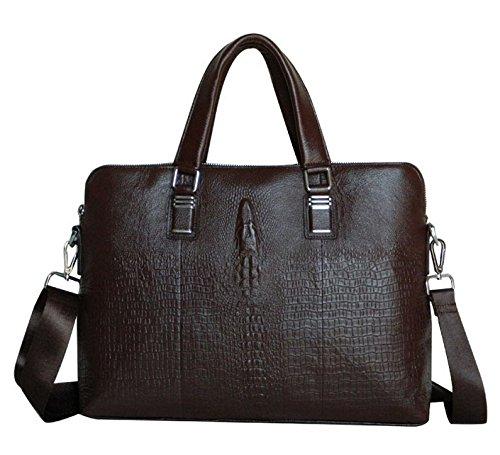ZUZUWALA Alligator Embossed Leather Mens Briefcase Laptop Bags Travel Bag Fit 14