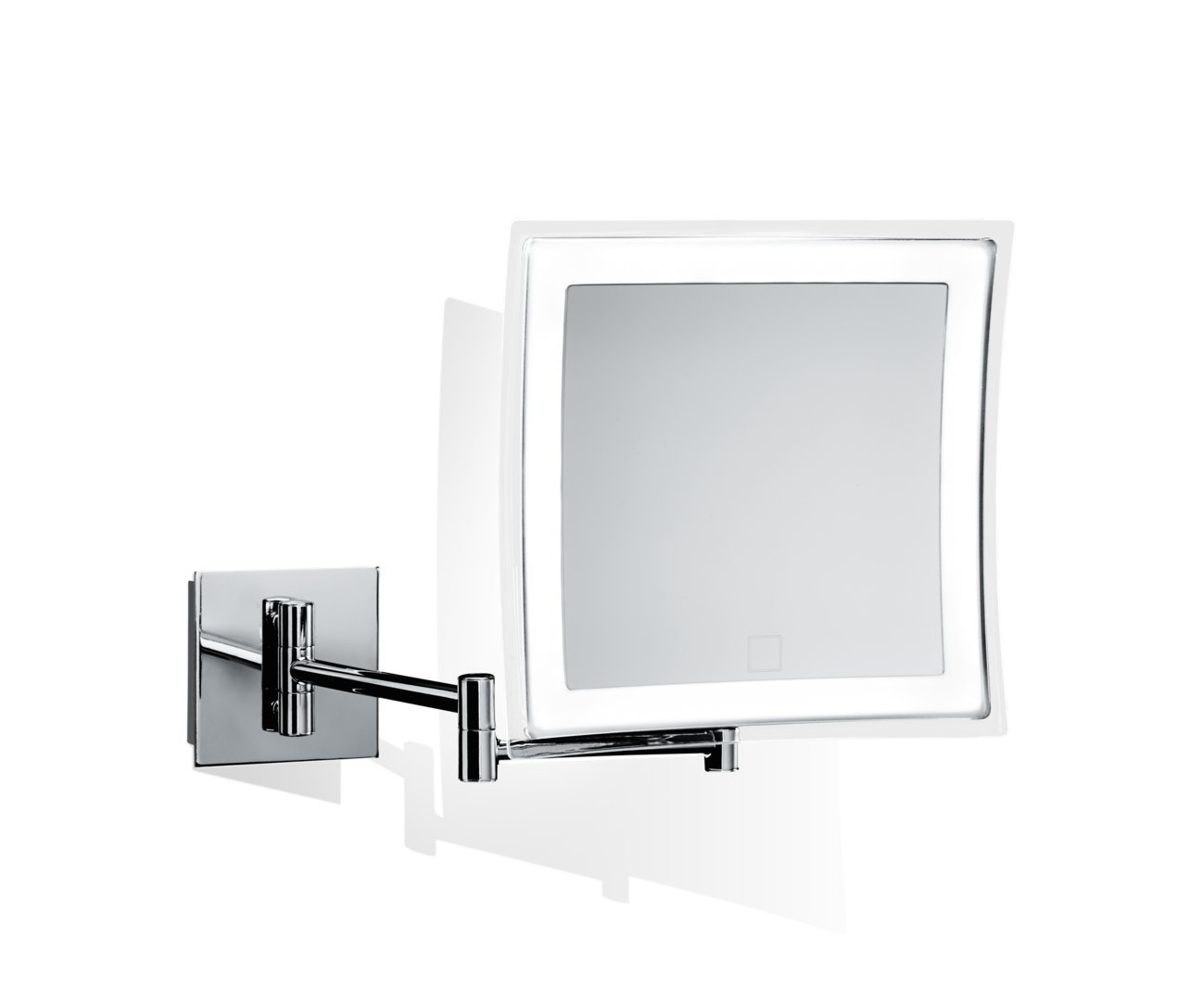 DWBA Touch Wall Cosmetic Makeup 5X LED Light Dimmer Magnifying Mirror, Chrome (Polished Chrome)