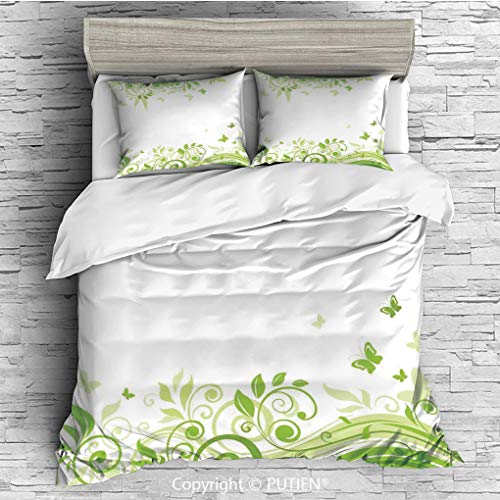 PUTIEN Full Size Cute 3 Piece Duvet Cover Sets Bedding Set Collection [,Swirling Spring Branches with Silhouettes of Wild Life Print,White Pistachio ] Comforter Cover Set for Kids Gir