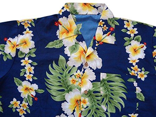 Aloha Con Fiore Blue Festa Stile Camicie Hawaiano Ibisco Stampa Spiaggia Sulla Di vncATqaEAW