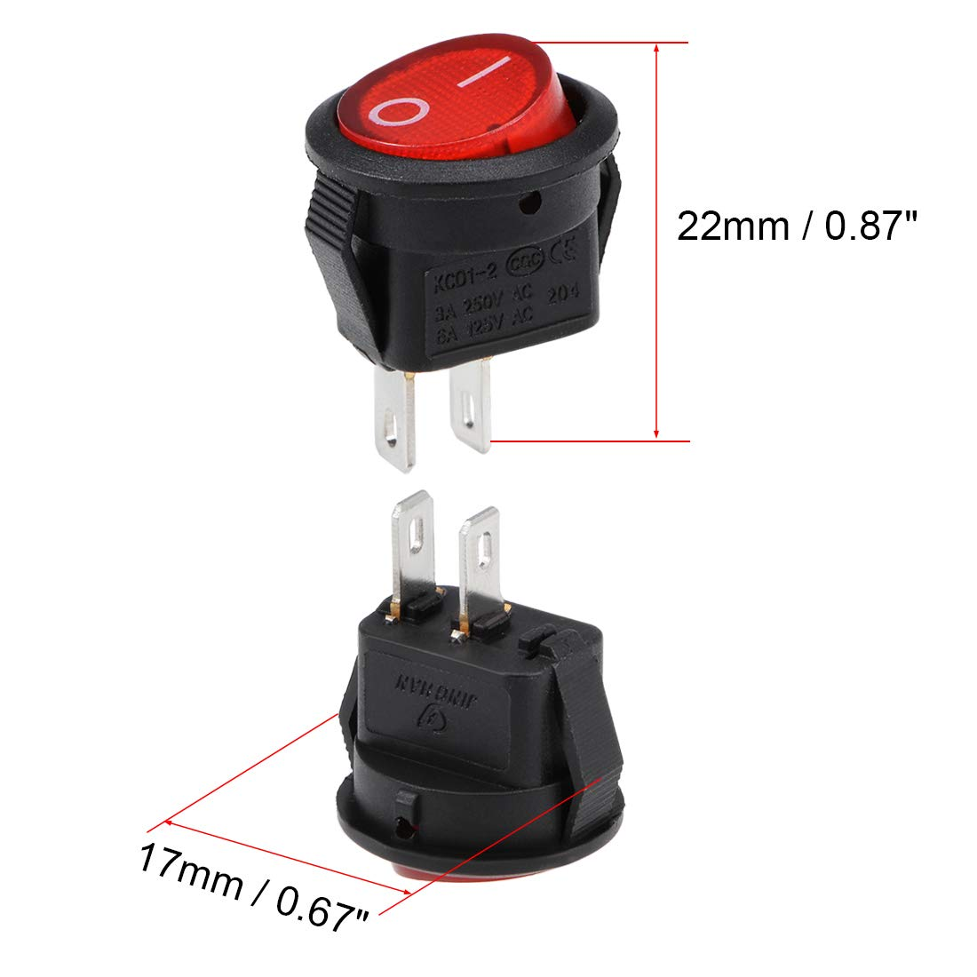 uxcell Mini Boat Rocker Switch Red Toggle Switch for Boat Car Marine 2pins ON//Off//ON AC 250V//3A 125V//6A