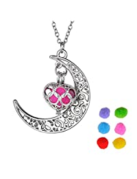 Colours Aromatherapy Essential Oil Diffuser Necklace Pierced Lantern Moon Pendant,Silver-plated