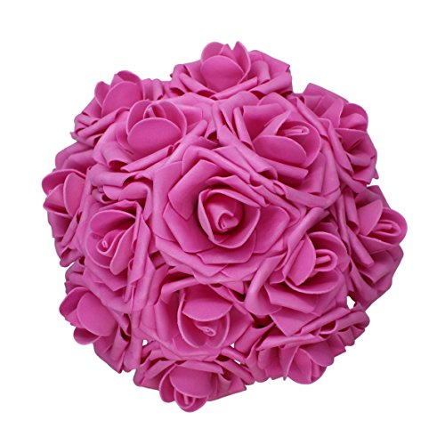 AnParty 25pcs Artificial Flower,Real Touch Artificial Foam Roses Decoration DIY Wedding Bridesmaid Bridal Bouquet Centerpieces Party (25, Hot Pink)