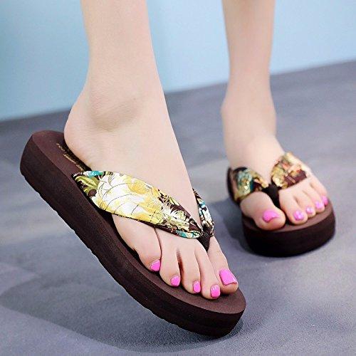 XIAOGEGE Fashion Flip Flops, Slippers, Grueso pies Inferiores, Zapatos de Playa, Sandalias, Zapatillas de Frío dorado