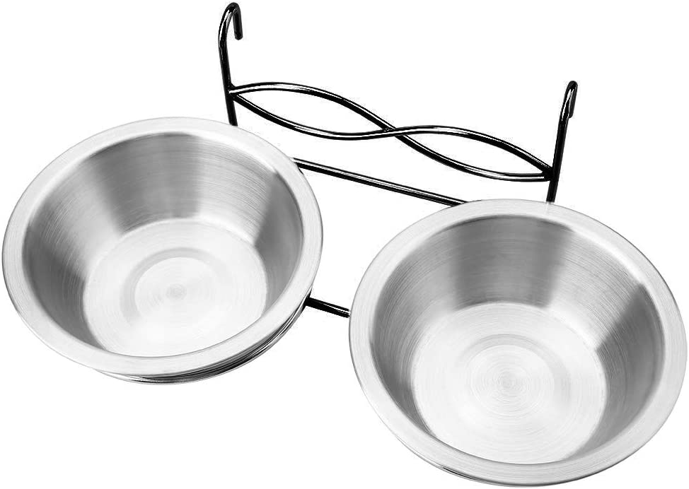 Owlike Stainless Steel Dual Hanging Food Water Bowl Feeder with Hook for Cat Pet Dog Puppy Crate Cage